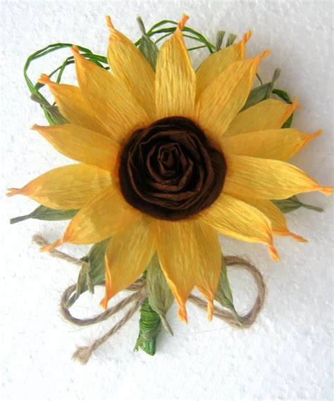 Baby Shower Boutonniere Ideas by Sunflower Boutonniere Crepe Paper Flowers Wedding