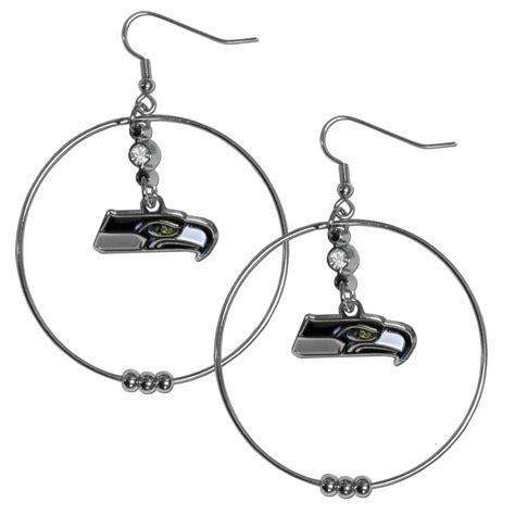 the sports fan zone seattle seahawks 2 inch hoop earrings