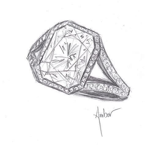 custom made engagement rings drawing for a radiant