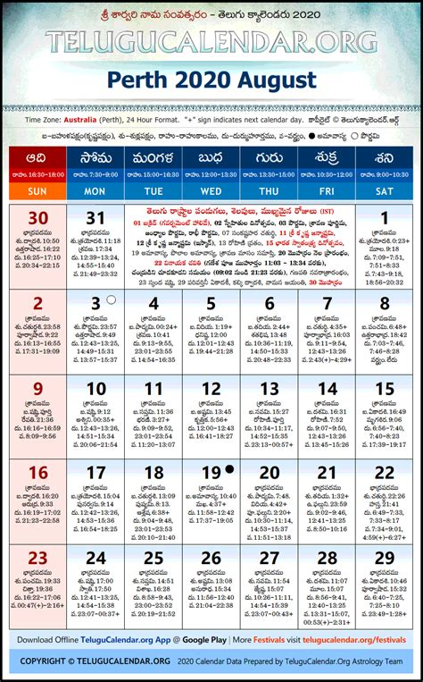perth telugu calendars  august festivals