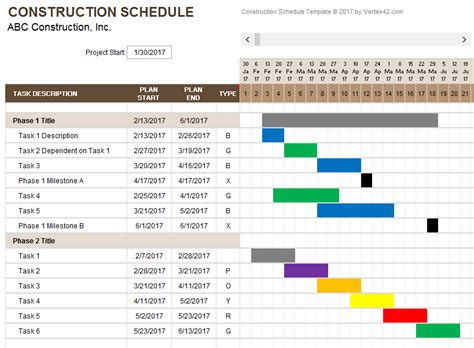 construction work schedule template construction schedule template fee schedule template