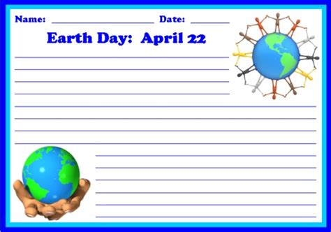 earth day writing paper printable worksheets colorful creative writing
