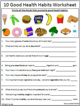 17 best images of healthy lifestyles worksheets for 10 health habits health and worksheets 17 b