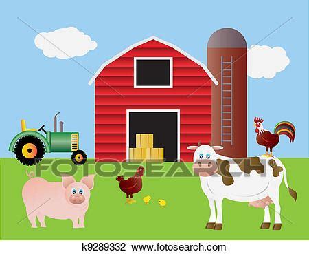 Bauernhof Scheune Clipart by Clipart Bauernhof Mit Rote Scheune Und Tiere