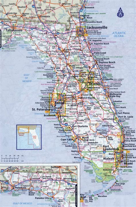 road map of florida large detailed roads and highways map of florida state