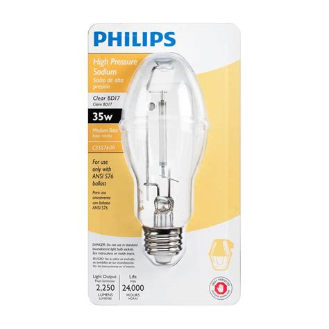 35 Watt High Pressure Sodium Light Fixture Philips 35 Watt Bd17 Ceramalux High Pressure Sodium High Intensity Discharge Hid Light Bulb