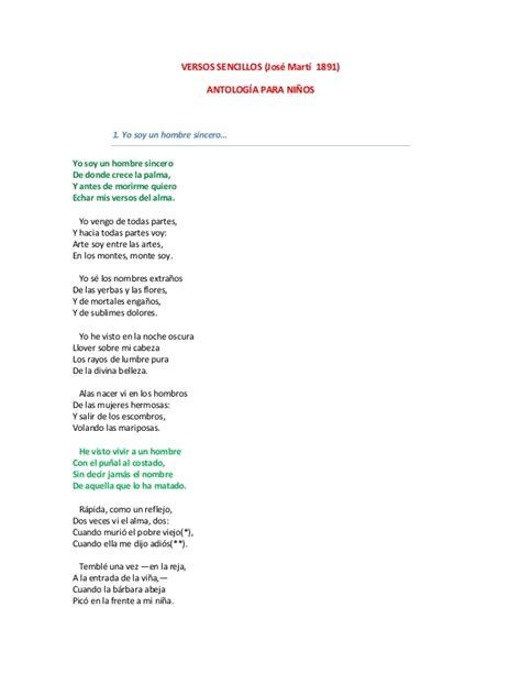 poemas sencillos jose marti versos sencillos antologia para ni 241 os