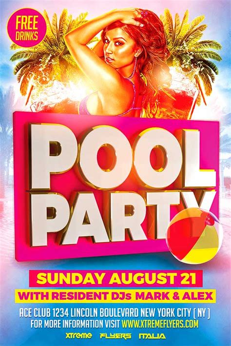 template flyer free party pool party flyer template xtremeflyers