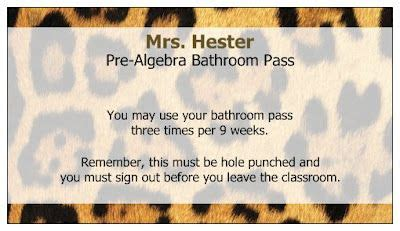 bathroom pass punch card using free business cards from vistaprint as bathroom