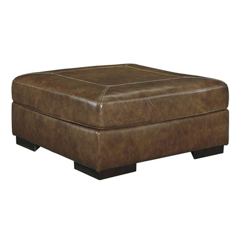 Oversized Square Ottoman Vincenzo Oversized Square Leather Ottoman In Nutmeg