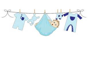 Baby boy blue clothes line washing laundry