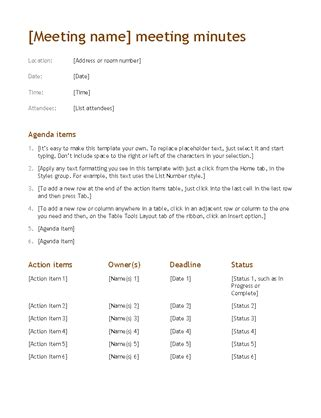 Outlook Meeting Minutes Template by Meeting Minutes Simple
