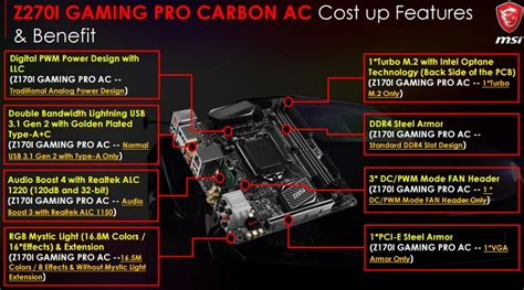 Msi Z270 I Gaming Pro Carbon Ac msi z270i gaming pro carbon ac preview msi z270i gaming
