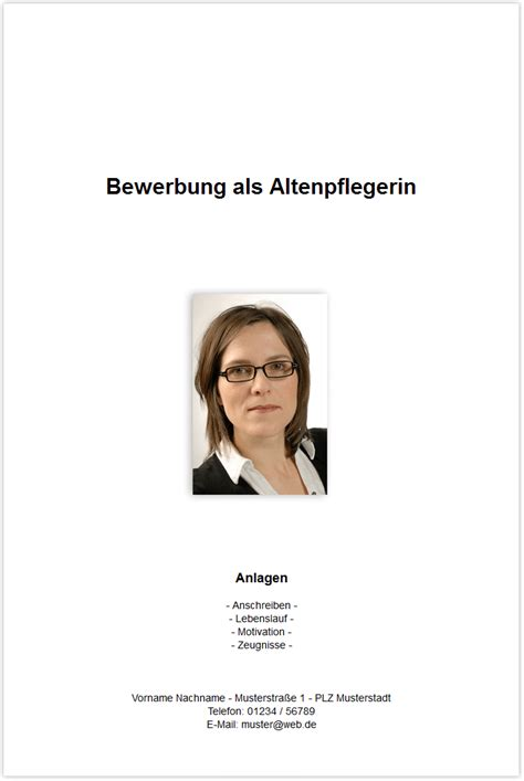 Bewerbung Einzelhandel Deckblatt Bewerbungsdeckblatt Altenpflegerin Altenpfleger
