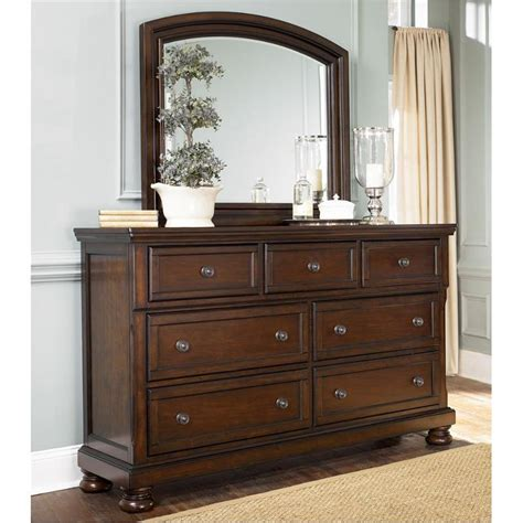 Rustic Bedroom Dresser B697 36 Furniture Porter Rustic Brown Mirror For Dresser