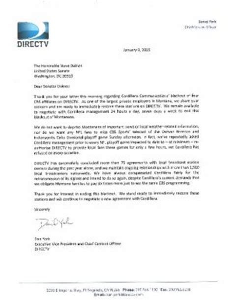 Directv Permission Letter Landlord Daines Calls On Station Owner Directv To Return Cbs To