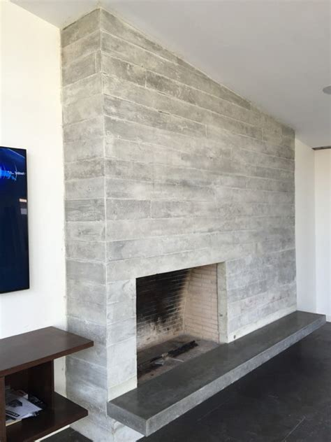 concrete board form veneer tile fireplace floating