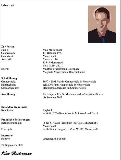 Lebenslauf Ausbildung Hauptschulabschluss lebenslauf er enth 228 lt 1 ihre pers 246 nlichen daten pdf