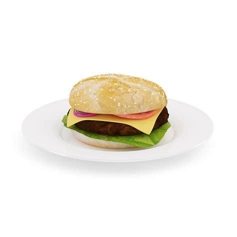2 Chair Dining Table Burger On Plate 3d Model Max Obj Fbx C4d Cgtrader Com