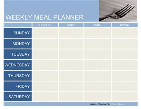 weekly menu planner template word 7 best images of free printable day care weekly menu