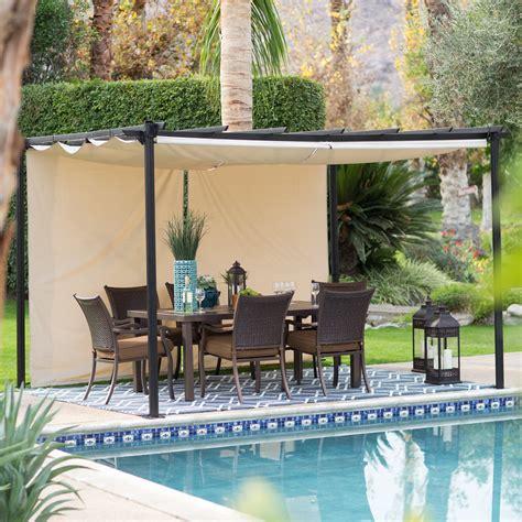 metal pergola with retractable canopy belham living steel outdoor pergola gazebo with
