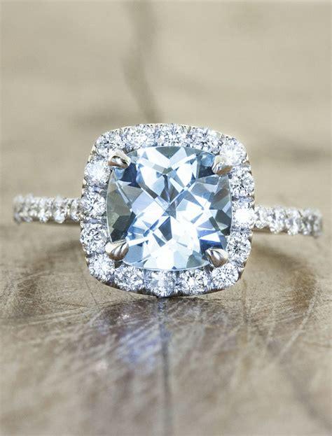 unique engagement ring with aquamarine wedding look