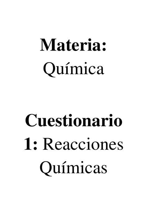 preguntas con i would reacciones qu 237 micas cuestionario con 10 preguntas y respuestas