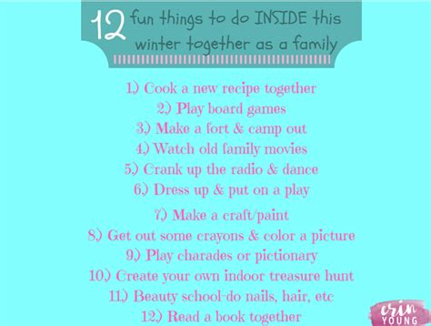 things to do in side your house 12 fun things to do inside this winter as a family erin young fitness
