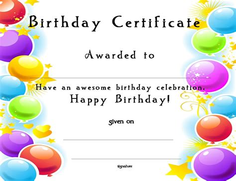 happy birthday template free www certificatetemplate org happy birthday certificate for