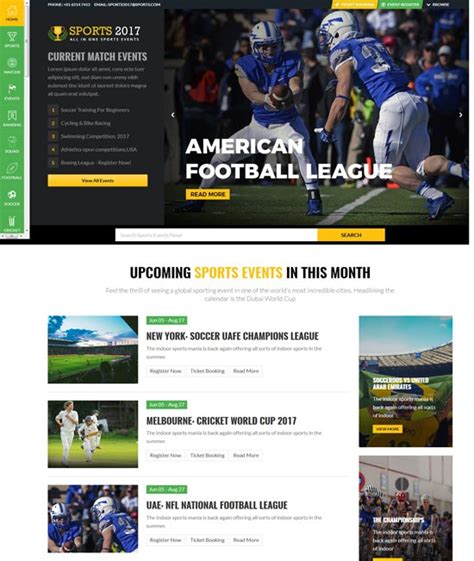 40 Best Sport Website Templates Free Premium Freshdesignweb Sports Website Templates