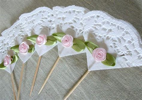 24 shabby chic roses and lace cupcake toppers cupcake