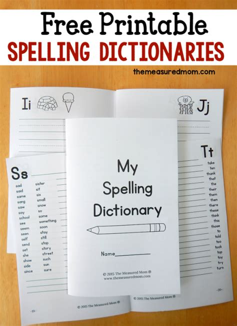 printable spelling journal printable spelling dictionary for kids the measured mom