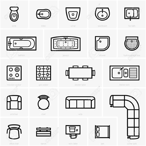 furniture icons for floor plans sofa top view clipart 58