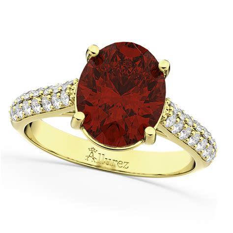 oval garnet engagement ring 18k yellow gold 4