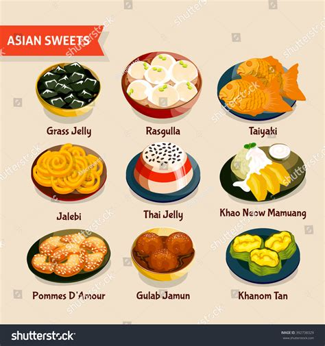 foods traditions dinners desserts cookies traditions songs lores about books asian set traditional desserts stock vector