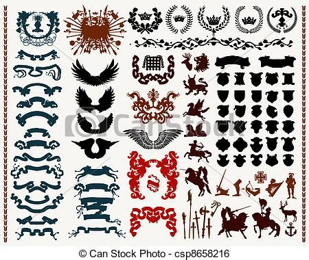 heraldic design elements vector clip art vector of heraldic design elements isolated on