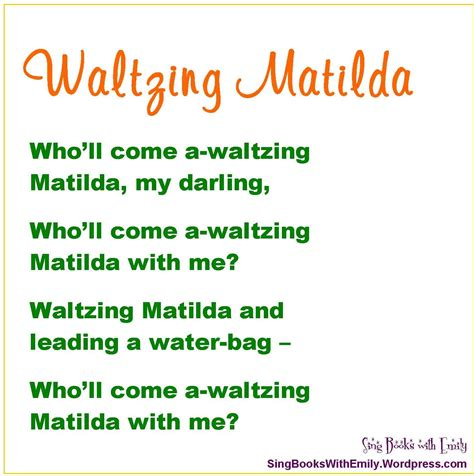 printable lyrics waltzing matilda october 2012 sing books with emily the blog