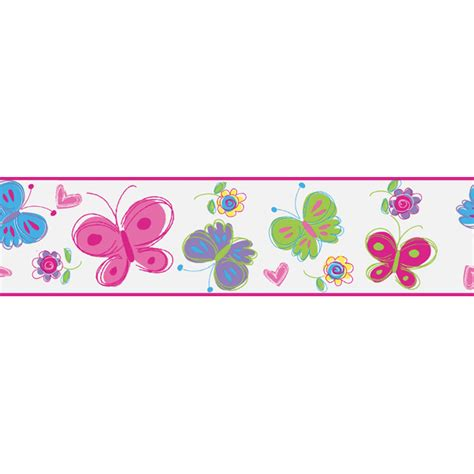 Wall Decor Home by 443b97630 Pink Butterfly Border Butterfly Garden Border