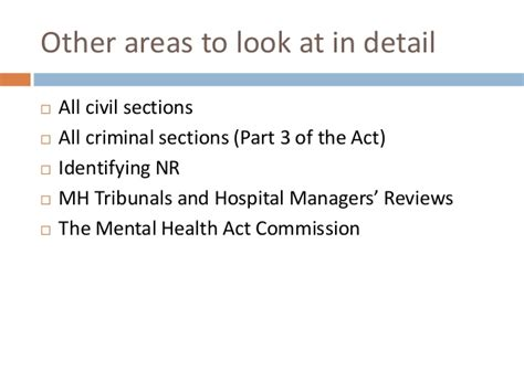 sections of the mental health act summary mh law and an overview to the act moodle 1