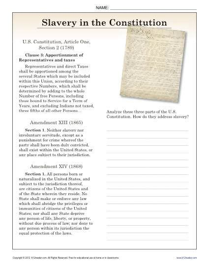 Constitution Worksheet High School by Slavery In The Constitution 9th 10th Reading
