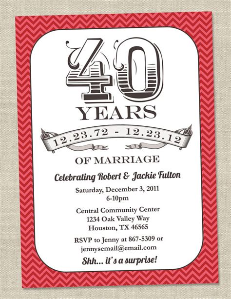 anniversary invitation cards templates free 40th anniversary template invitation orderecigsjuice info