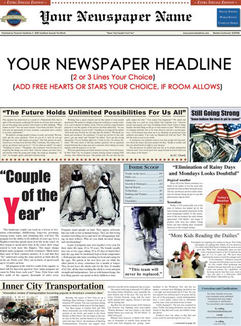 News Report Template Osslt Personalized Newspaper Sle Personal Headlines