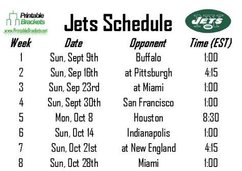 printable jets schedule jets schedule new york jets schedule