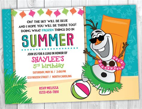 printable olaf party invitations frozen olaf summer birthday invitation printable frozen