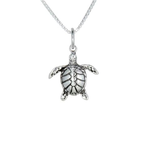 sterling silver sea turtle necklace small landing company