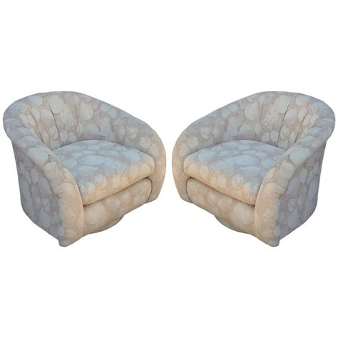 barrel style back chair pair of milo baughman style barrel back swivel chairs at