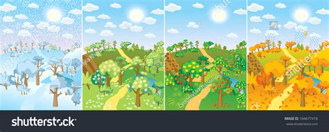 living the seasons of fall and winter books four seasons concept cycle nature stock vector