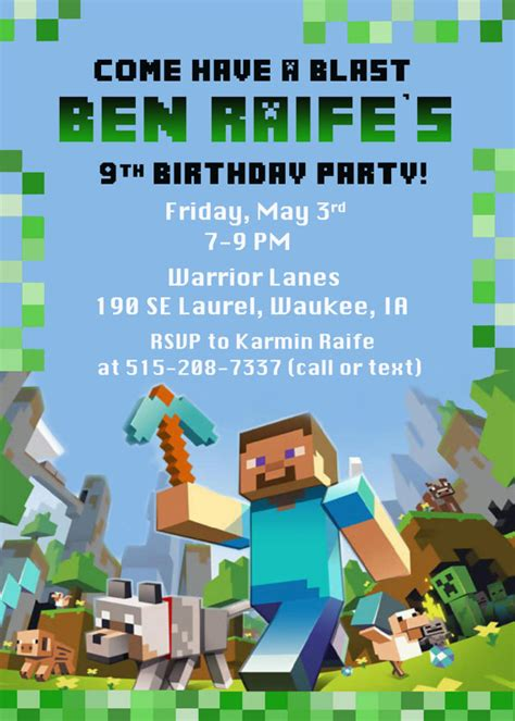minecraft invitation template free 40th birthday ideas free printable minecraft birthday