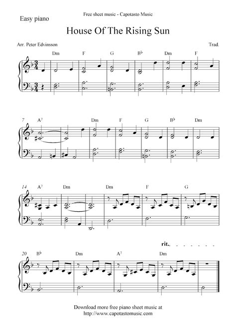 printable piano sheet music no download free free piano sheet music score house of the rising sun