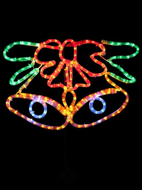 multi colour christmas bell led rope light silhouette
